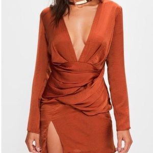 Missguided burnt orange satin dress w/ slit!